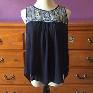 Blue tank with embroidered detail